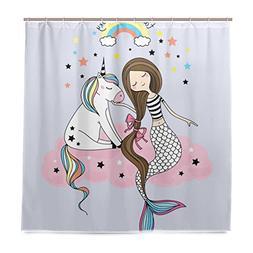 ALAZA Unicorn And Mermaid Shower Curtain Waterproof Polyeste