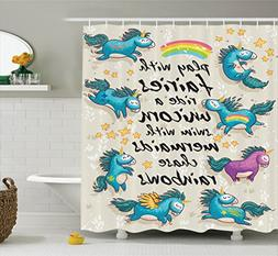 Ambesonne Cartoon Shower Curtain, Mythical Unicorns with Sta