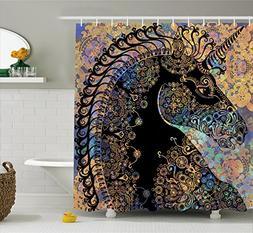 Ambesonne Unicorn Shower Curtain, Fairytale Unicorn Profile