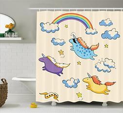 Ambesonne Unicorn Shower Curtain Set, Pastel Colored Illustr