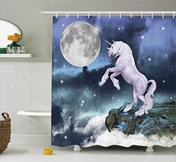 Ambesonne Unicorn Shower Curtain Set, Legendary Creature on