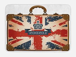 Ambesonne Union Jack Bath Mat by, Vintage Travel Suitcase wi