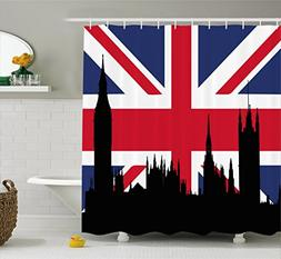 Ambesonne Union Jack Shower Curtain, Houses of the Parliamen