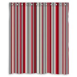 Unique and Generic Shower Red gray vertical stripes Curtain