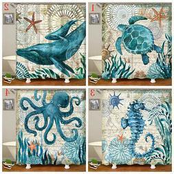 US 180x180cm Turtles Octopus Bath Shower Curtain Waterproof