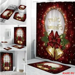 US 3*Christmas shower Curtain Bathroom Anti-slip Carpet Rug