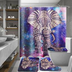 US 4Pcs Elephant Non-Slip Rug Toilet Lid Seat Cover Bath Mat
