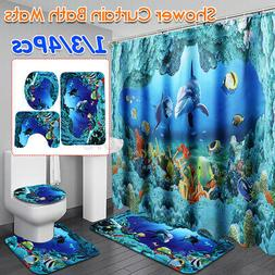 US 4Pcs Polyester Ocean Dolphin Sea Shower Curtain Toilet Co