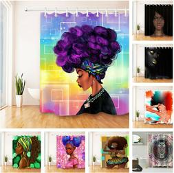 US Afro African American Black Girl Purple Hair Makeup Fabri