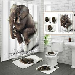 US Elephant Bathroom Shower Curtain Anti-slip Bath Mat Lid T