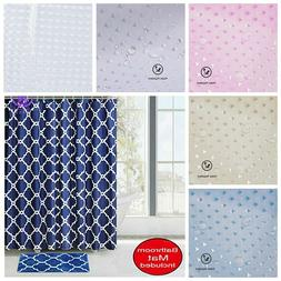 US Fabric Bathroom 3D Shower Curtain Set Waterproof With Hoo