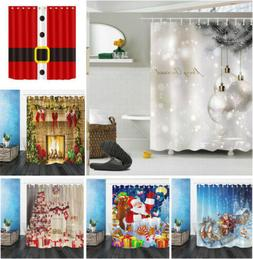 US Fabric Shower Curtain Set Christmas Ball Santa Claus Bath