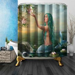 US Fairy Mermaid Fabric Shower Curtain Set Polyester Sheer B