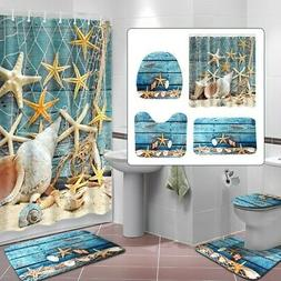 US Ocean Starfish Shower Curtain Bathroom AntiSlip Rug Lid T