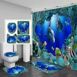 US Shark Deep Sea Shower Curtain Non-slip Bath Mat Pedestal