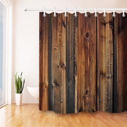 US Ship Rustic Vintage Wood Planks Bathroom Waterproof Fabri
