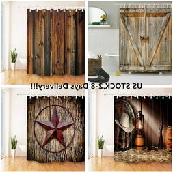 US SHIP Rustic Wood Boards Barn Door Texas Star Cowboy Fabri
