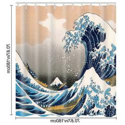 US STO The Great Wave Off Kanagawa Pattern Waterproof Bathro
