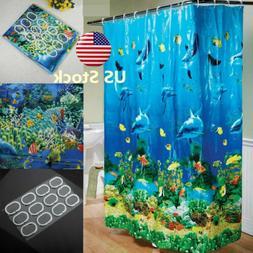 US Tropical Beach Dolphin Sea Fish Shower Curtain Blue Ocean