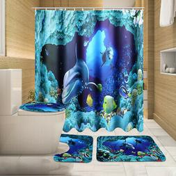 US Waterproof 1.8M Ocean Dolphin Sea Bathroom Shower Curtain