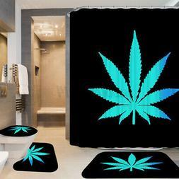 US Waterproof Leaves Shower Curtain Bathroom Non-Slip Toilet