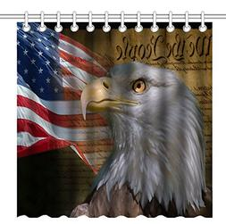 Wknoon 72 x 72 Inch USA Flag American Patriotic Eagle Shower