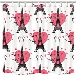 NYMB Valentine's Day Shower Curtains for Bathroom, Pink Hear