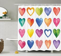 Ambesonne Valentines Day Grunge Home Decor Shower Curtain, R