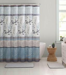 VCNY Ashley Light Blue Beige Canvas Fabric Shower Curtain Co