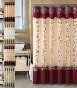 VCNY Daphne Embroidered Sheer & Taffeta Fabric Shower Curtai