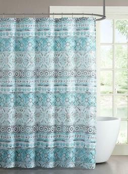 VCNY Home Fabric Shower Curtain Turquoise Aqua Teal Hidden O