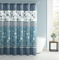 VCNY Home Teal Aqua Blue Green White Fabric Shower Curtain: