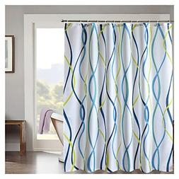 LanMeng Vertical Fashion Wavy Striped Fabric Shower Curtain