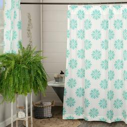 VHC Mariposa Turquoise Shower Curtain Coastal Cotton Fabric