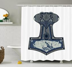 Lunarable Viking Shower Curtain by, Scandinavian Folklore Mo