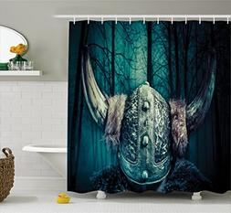 Lunarable Viking Shower Curtain By Barbarian Warrior Head W