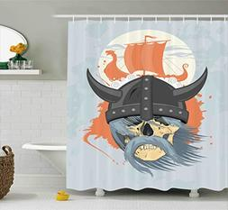 Ambesonne Viking Shower Curtain, Cartoon Ghost Skull Nordic