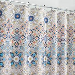 mDesign Vintage Damask Print, Easy Care Fabric Shower Curtai