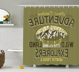 Ambesonne Vintage Decor Shower Curtain, Great Outdoor Advent