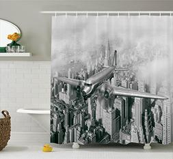 Ambesonne Vintage Decor Shower Curtain Set, Nostalgic Dated