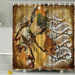 Ambesonne Vintage Lace with British Butterfly Print Shower C