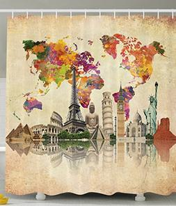 Ambesonne Vintage Map of the World Polyester 69-Inch-by-70-I