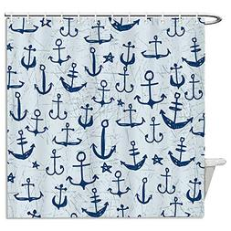Vintage Multi Navy Anchors Shower Curtains Fabric Mildew Res