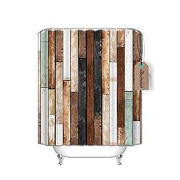 Vandarllin Rustic Old Barn Wood Waterproof Shower Curtain wi