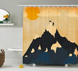 Ambesonne Vintage Shower Curtain, Man on Mountaintop with Fl