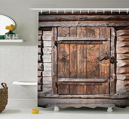 Ambesonne Vintage Shower Curtain, Rustic Wooden Door of Old