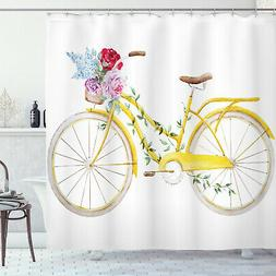 Vintage Shower Curtain Bicycle with Flowers Print for Bathro