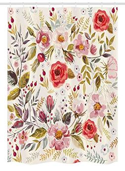Ambesonne Vintage Stall Shower Curtain, Floral Theme Hand Dr