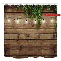 Kotom Vintage Wooden Board Shower Curtain, Green Leaves On W