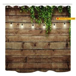 vintage wooden board shower curtain green leaves